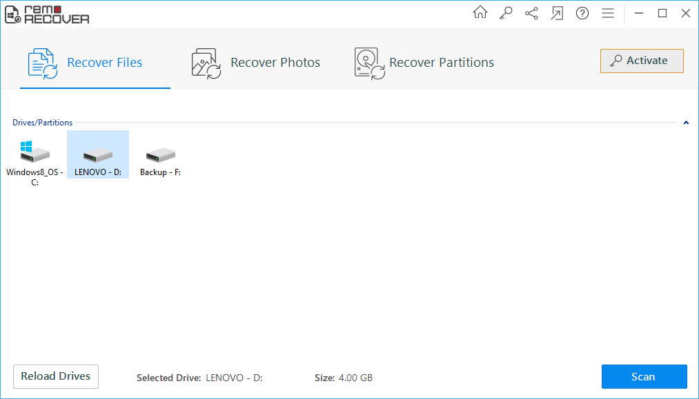 Restore Files from Recycle Bin - Main Screen